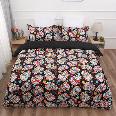 Sugar Skull Duvet Quilt Cover Gothic Bedding Set Pillowcases Single Double King • 24.99£