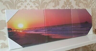 Sunset Beach Sea Nautical Bedroom Set Of 3 Canvas Wall Art Pictures Home Decor • 8.49£