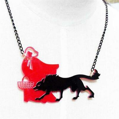 Cg0628...laser Cut Red Riding Hood & Wolf Necklace- Free Uk P&p • 8.99£