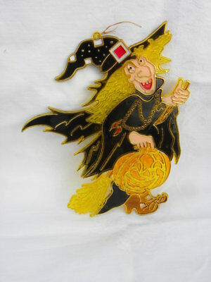 $ CDN12.17 • Buy Vtg Halloween Plastic Faux Stained Glass Witch Broom Jack-O-Lantern Window Decor
