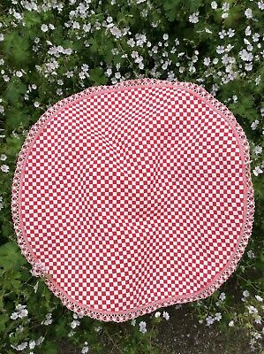Vintage French Red Check Table Cloth • 10£