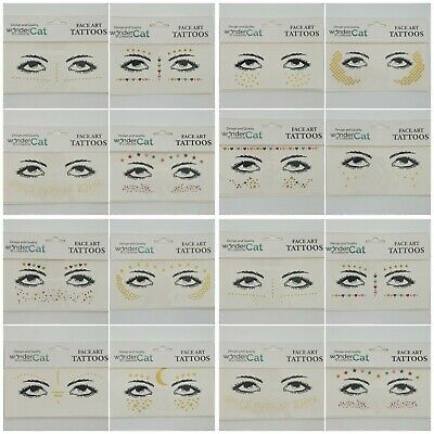 6 SHEETS Face Tattoo Sticker Gems Adhesive Glitter Festival Party Body Make Up • 3.99£