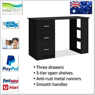 AU188.60 • Buy Artiss Office Computer Desk Student Study Table Workstation 3 Drawers 120cm Blac