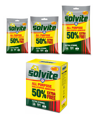 SOLVITE All Purpose Wallpaper Adhesive Paste Extra Strong With 50% EXTRA FREE • 8.65£