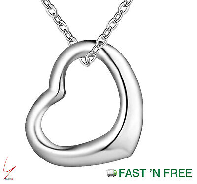 £3.69 • Buy 925 Sterling Silver Floating Heart Pendant Necklace On 18  Curb Chain Love Gift