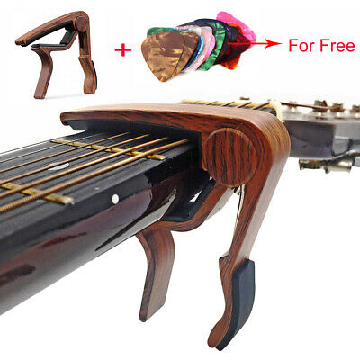 AU13.99 • Buy Wooden Guitar Capo Adjustment Acoustic Classic Electric Guitar Tuner + Picks
