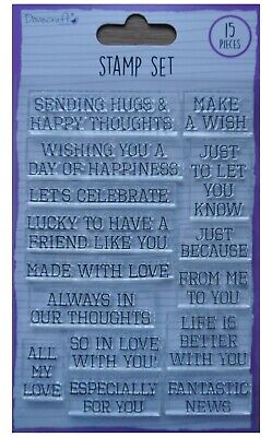 Dovecraft Clear  Acrylic Stamp Set  MIXED SENTIMENTS 15 Stamps • 2.99£