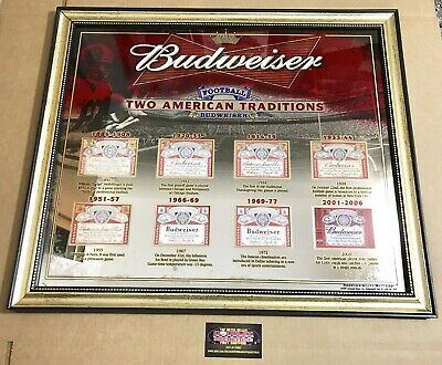 """$ CDN213.28 • Buy Budweiser NFL Football American Traditions Label Mirror Beer Sign 27x22"""" New"""