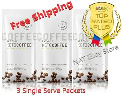 $12 • Buy It Works Keto Coffee Sealed Bag 3 Single Serve Packets Carb Management  🚚🚚