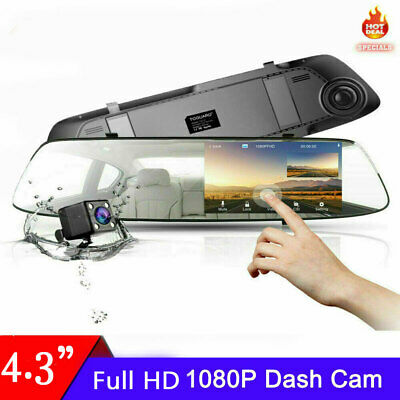 AU54.09 • Buy FHD 1080P 4.3  Dual Lens Car DVR Dash Cam Reversing Camera Video Recorder Mirror