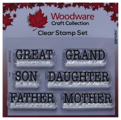 Woodware  Clear Stamp Set GREAT GRAND Son Daughter Father Mother • 2.29£