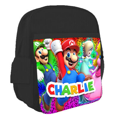 Personalised Any Name Kids Backpack Super Mario Design Childrens School Bag 14 • 16.95£