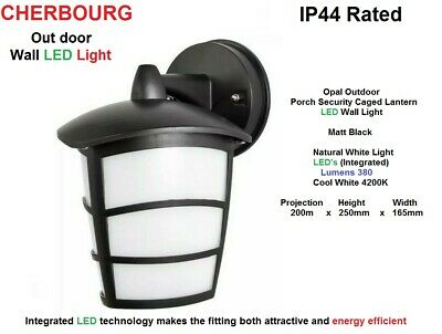 CHERBOOURG LED Wall Light In Matt Black & Opal Outdoor Porch Caged Lantern  IP44 • 10.95£
