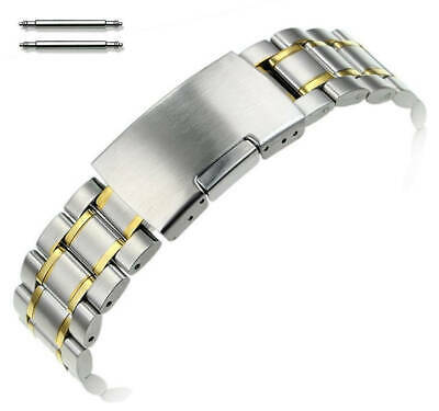 Two Tone Gold Steel Metal Bracelet Replacement Watch Band Strap Push Button 5019 • 14.44£