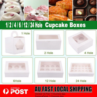 AU13.98 • Buy Cupcake Box Range 1 Hole 2 Hole 4 Hole 6 Hole 12 Hole 24 Hole Window Face