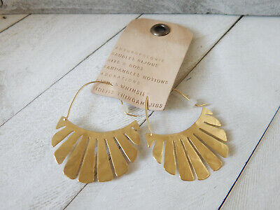 $ CDN32.75 • Buy Earrings Anthropologie Laser Cut Unique Shape Open Hook Gold Plate Nwt $38