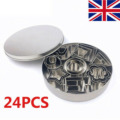 24 Pcs Mini Cookie Cutter Set Stainless Steel Baking Pastry Cutters Slicers Tool • 6.59£