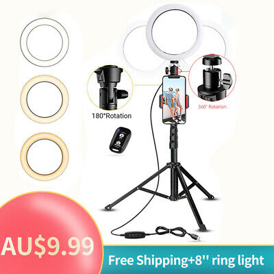 AU16.99 • Buy 8 LED Ring Light 6000K 3 Colour Dimmable Stand Tripod Phone Holder Studio Video