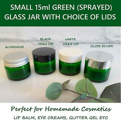 GREEN Cosmetic Glass Jars With Lids 15ml Aromatherapy Pots Small Cosmetic Jar  • 8.85£