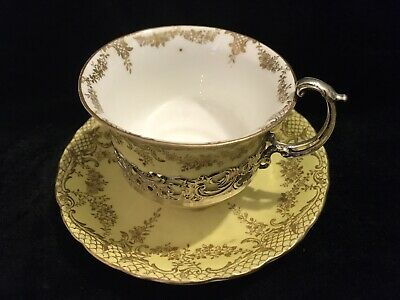 Rare Crown Staffordshire Eggshell Tea Cup & Saucer Silver Holder • 80£