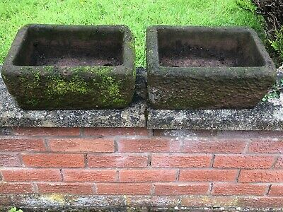 £400 • Buy Pair English Sandstone Small Fine Beautiful Primitive Weathered Garden Troughs