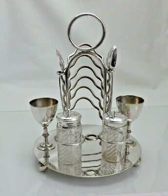 Antique Silver Plate Breakfast Set Toast Rack Egg Cups Spoons Etc:- (KNY) • 85£