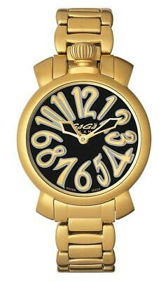 GaGà Milano Watch Manuale Black 35mm Gold Plated 6023.02 • 700£