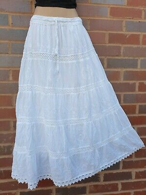 £22.99 • Buy White Cotton Lace Maxi Skirt Bohemian EMBROIDERED 5 Tier Lined 10 12 14 16 18
