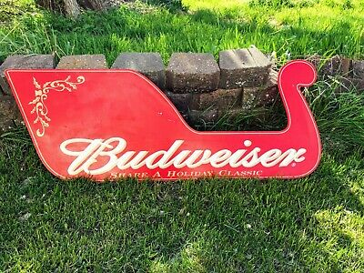 $ CDN197.73 • Buy Vintage Christmas Sled Budweiser Beer Advertising Sign