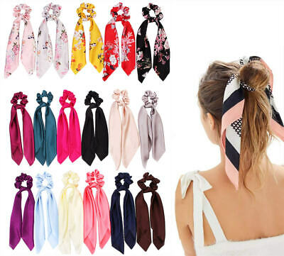 UK Satin Ponytail Scarf Bow Hair Rope Ties Scrunchies Ribbon Band Flower Leopard • 1.99£