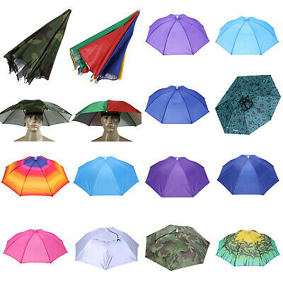 AU9.60 • Buy Umbrella Hat Foldable Sun UV Protection Fishing Camping Headwear Caps Golf Hats
