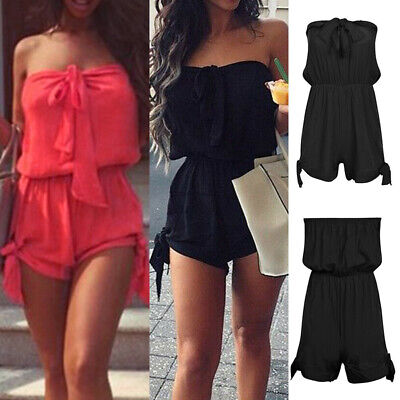 Women Summer Mini Playsuit Ladies Beach Bandeau Shorts Dress Jumpsuit Plus Size • 6.79£