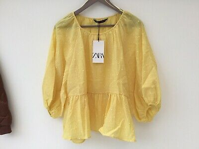 $29.11 • Buy Zara XL Yellow Cotton Blend Blouse Top NEW Smock Relaxed Casual