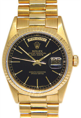 $ CDN20361.91 • Buy Rolex Day-Date President 18k Yellow Gold Black Index Dial Mens 36mm Watch 18238
