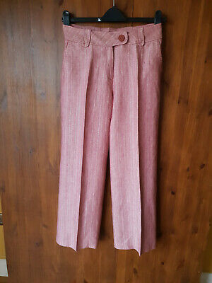 RRP £119 POETRY 100% LINEN TROUSERS Pink Striped Wide Leg UK 10 12 / 28  Leg NEW • 9.95£