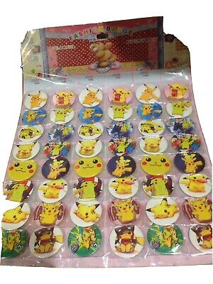 10 X POKEMON  Pin Badges  Party Bag Fillers Birthday Party Favours, Games • 3.49£
