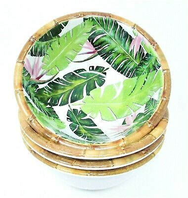 $32 • Buy Tommy Bahama Melamine Bowls 6  Set Of 4 ~ Bird Of Paradise Palm Leaf Bamboo Rim