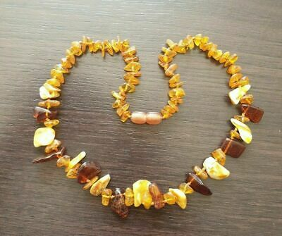 100% Genuine BALTIC AMBER Beads Necklace With Multicolored Stones ! • 7.45£