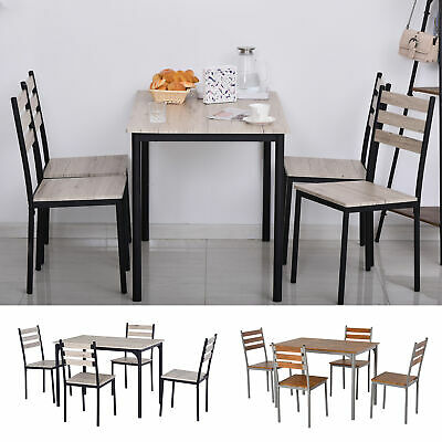 $179.99 • Buy HOMCOM 5-Piece Modern Wooden Dining Set 1 Table 4 Chairs