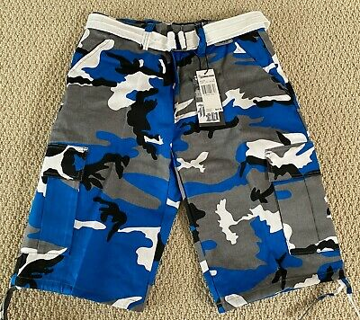 $17.99 • Buy NWT Men's Regal Wear Blue White Camouflage Camo Belted Cargo Shorts ALL SIZES