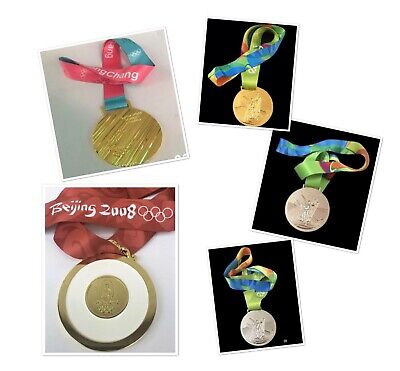 £26 • Buy 2008/2016/2018 Olympic  Gold/Silver/Brown Medal With Ribbon 1:1 Full Size