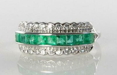Divine 9ct 9k White Gold Colombian Emerald Diamond Eternity Band Ring Size O • 329£