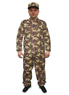 Mens Adults Army Soldier Guy Military Forces Fancy Dress Up Party Costume Outfit • 18.49£