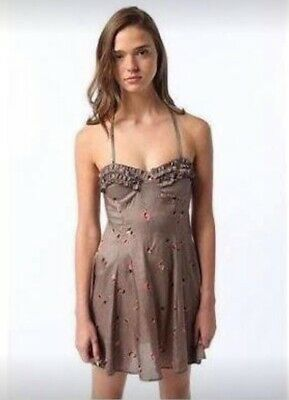 AU32 • Buy NEW URBAN OUTFITTERS Taupe Halter Neck Dress Frill/Ruffle Pinup Rockabilly 12-14