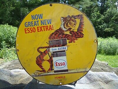 $ CDN92.62 • Buy Old 1963 Esso Extra Gasoline Porcelain Gas Oil Sign! Pump Humble Texas