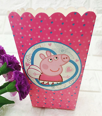 Pink Pig Popcorn Boxes 6 Pack Pink Hearts Fairy Happy Birthday Party • 3.49£