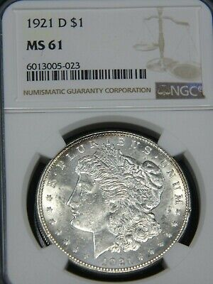 $56 • Buy 1921 D Morgan Silver Dollar NGC MS61 Blast White Strong Frosty Luster PQ #MH223