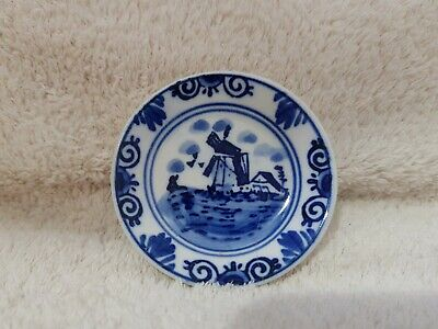 £3 • Buy Vintage Delft Miniature Blue & White Ceramic Windmill Plate