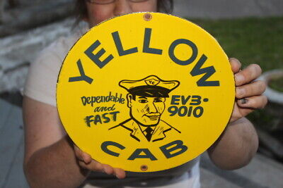 $ CDN13.55 • Buy Yellow Cab Dependable & Fast Taxi Gas Oil Porcelain Metal Sign
