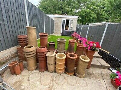 12 Chimney Pots + One Clay Cowl (Good Condition) • 350£